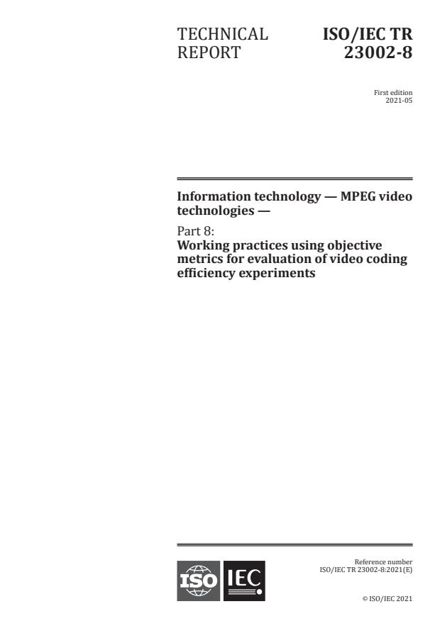 ISO/IEC TR 23002-8:2021 - Information technology -- MPEG video technologies