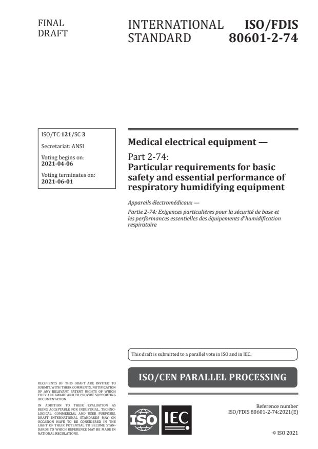 ISO/FDIS 80601-2-74 - Medical electrical equipment