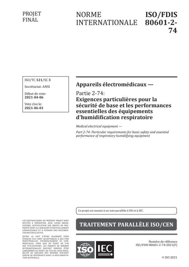 ISO/FDIS 80601-2-74 - Appareils électromédicaux