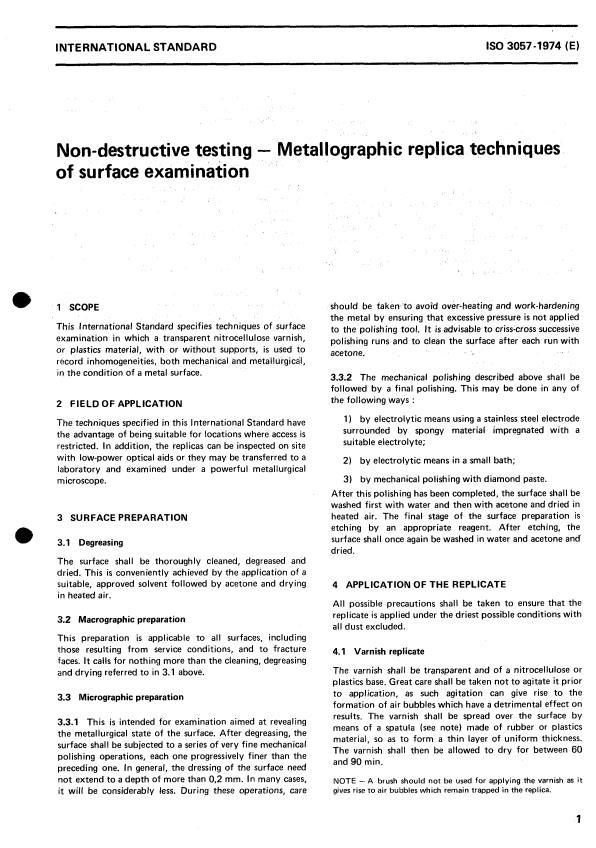 ISO 3057:1974 - Non-destructive testing -- Metallographic replica techniques of surface examination