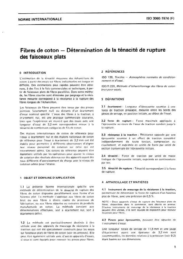 ISO 3060:1974 - Fibres de coton -- Détermination de la ténacité de rupture des faisceaux plats
