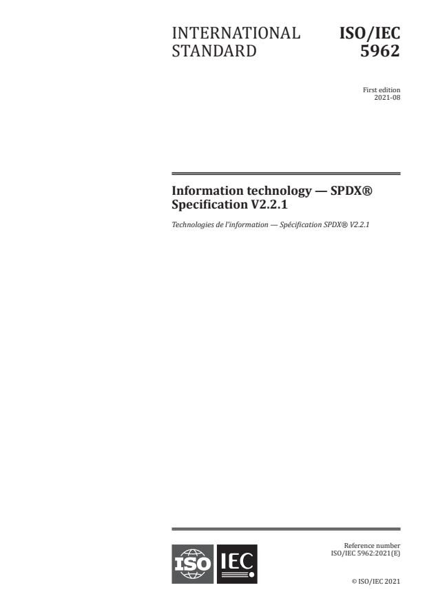ISO/IEC 5962:2021 - Information technology -- SPDX® Specification V2.2.1