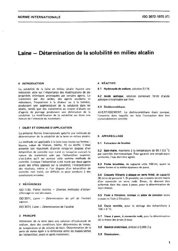 ISO 3072:1975 - Laine -- Détermination de la solubilité en milieu alcalin
