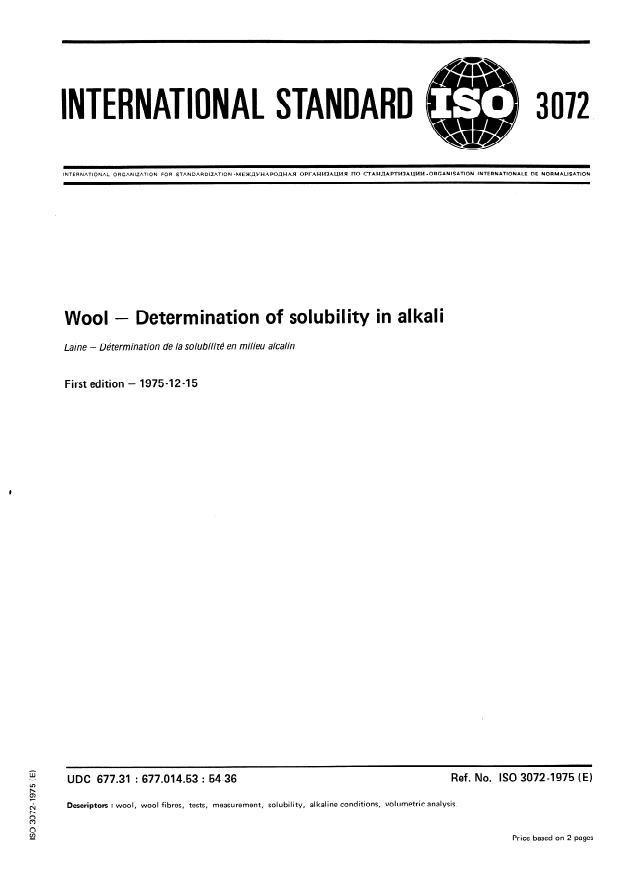 ISO 3072:1975 - Wool -- Determination of solubility in alkali