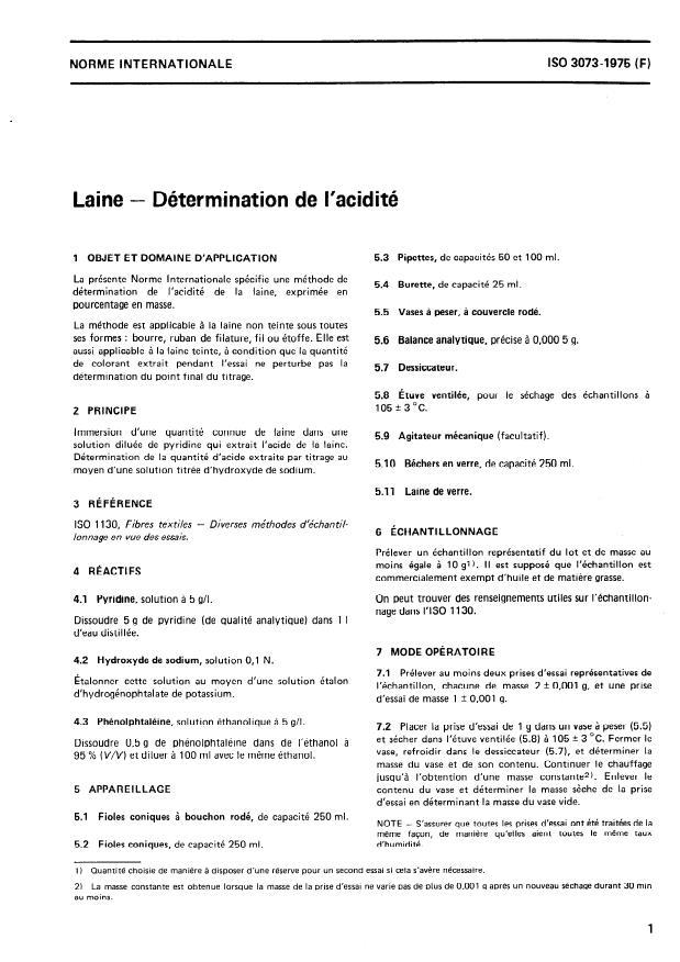 ISO 3073:1975 - Laine -- Détermination de l'acidité