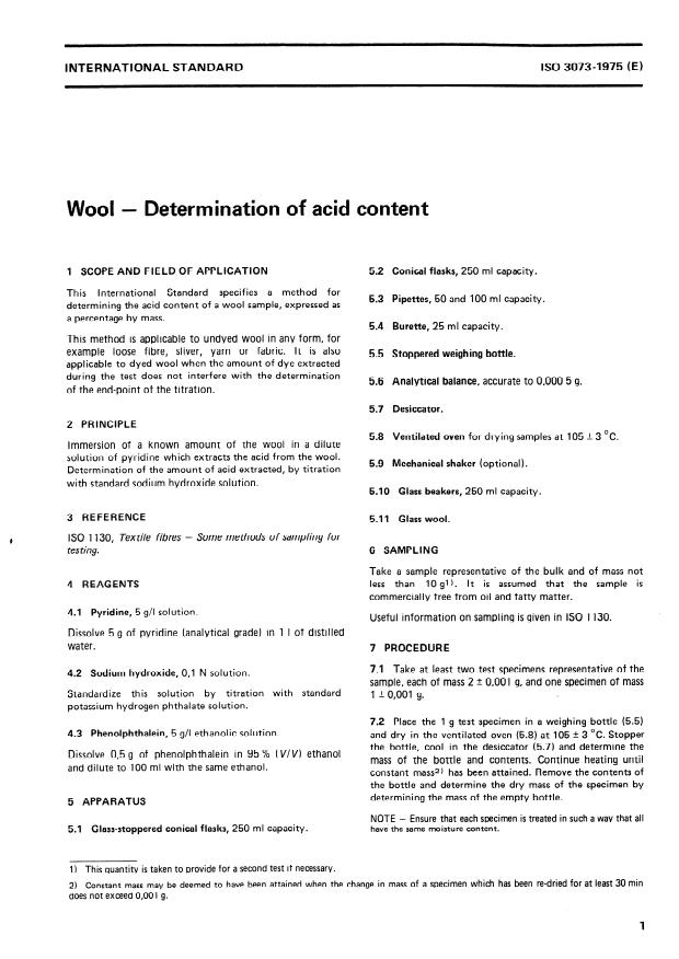 ISO 3073:1975 - Wool -- Determination of acid content