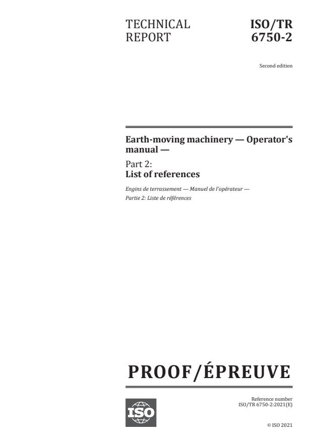 ISO/PRF TR 6750-2:Version 03-apr-2021 - Earth-moving machinery -- Operator's manual