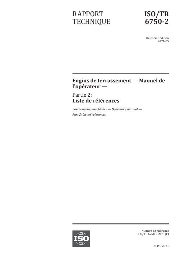 ISO/TR 6750-2:2021 - Engins de terrassement -- Manuel de l'opérateur