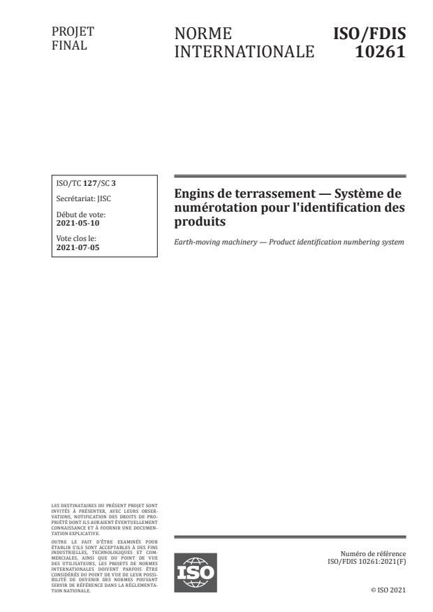 ISO/FDIS 10261:Version 15-maj-2021 - Engins de terrassement -- Systeme de numérotation pour l'identification des produits