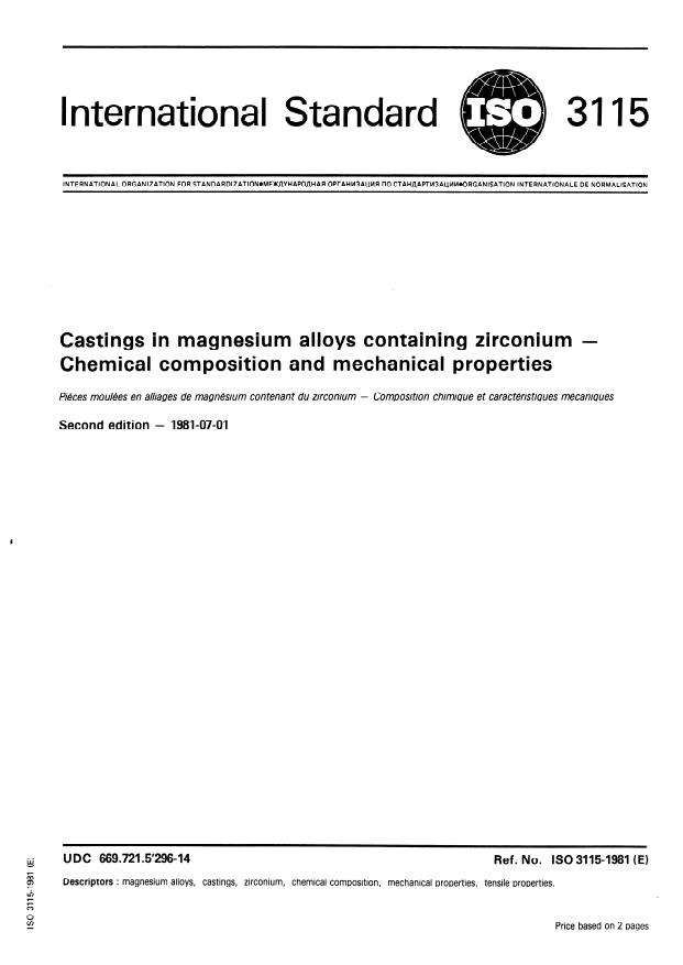 ISO 3115:1981 - Castings in magnesium alloys containing zirconium -- Chemical composition and mechanical properties