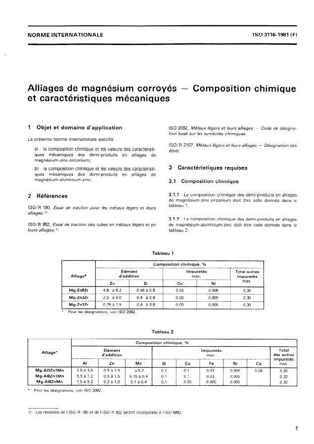 ISO 3116:1981 - Alliages de magnésium corroyés -- Composition chimique et caractéristiques mécaniques
