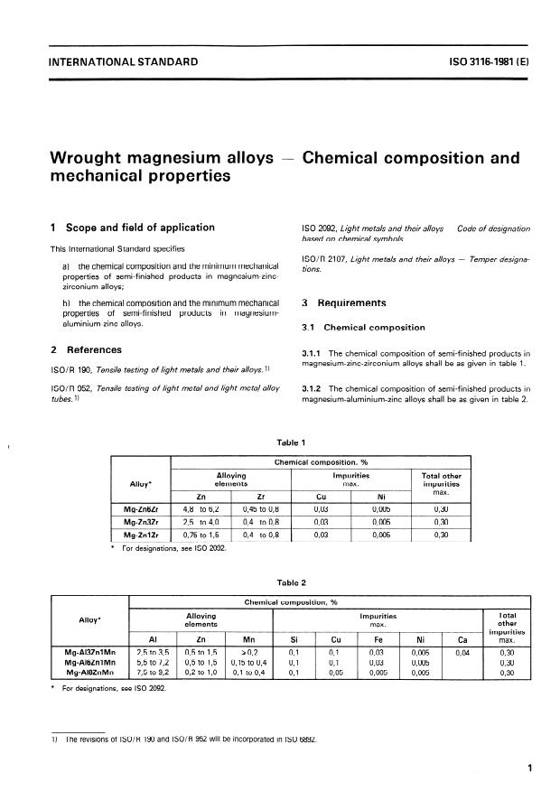 ISO 3116:1981 - Wrought magnesium alloys -- Chemical composition and mechanical properties