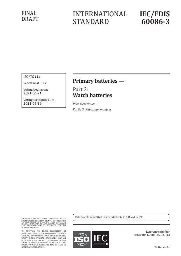 IEC/FDIS 60086-3:Version 26-jun-2021 - Primary batteries