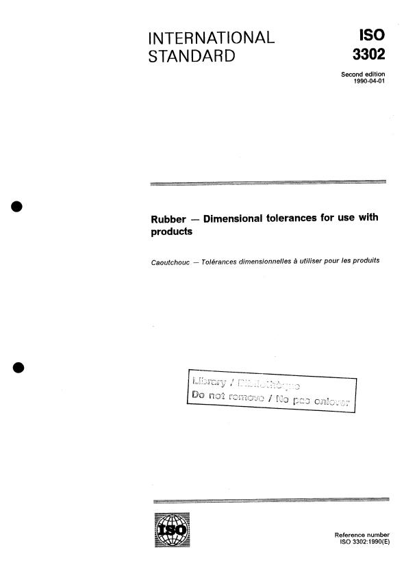 ISO 3302:1990 - Rubber -- Dimensional tolerances for use with products
