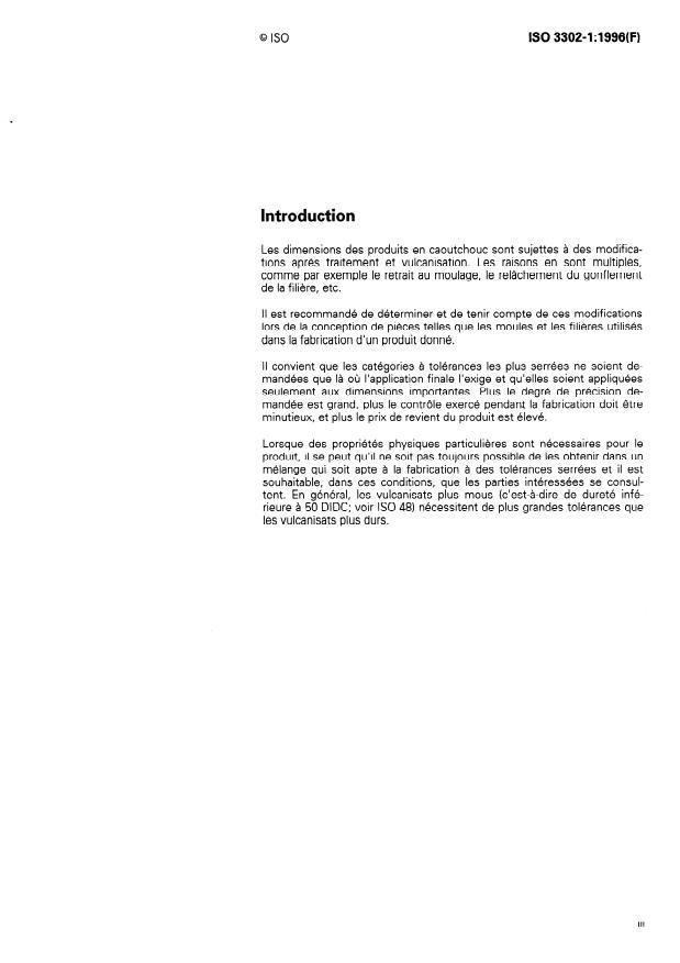ISO 3302-1:1996 - Caoutchouc -- Tolérances pour produits