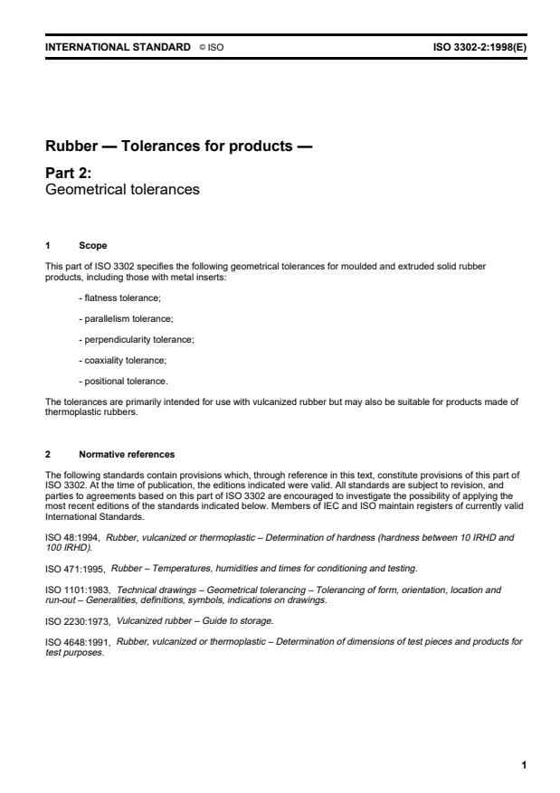 ISO 3302-2:1998 - Rubber -- Tolerances for products