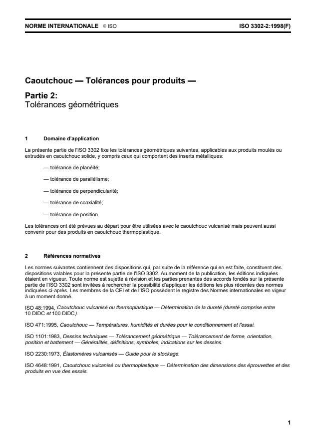 ISO 3302-2:1998 - Caoutchouc -- Tolérances pour produits