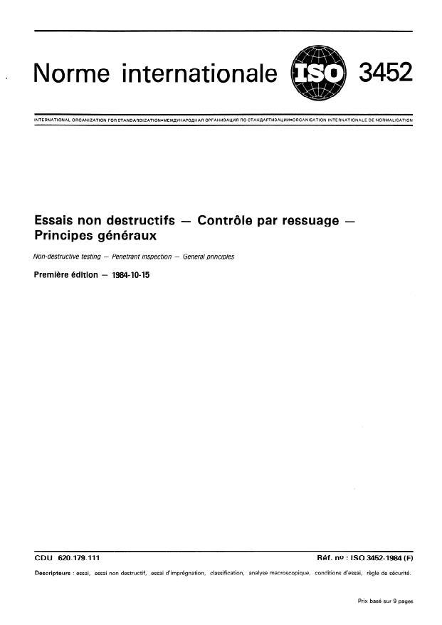 ISO 3452:1984 - Essais non destructifs -- Contrôle par ressuage -- Principes généraux
