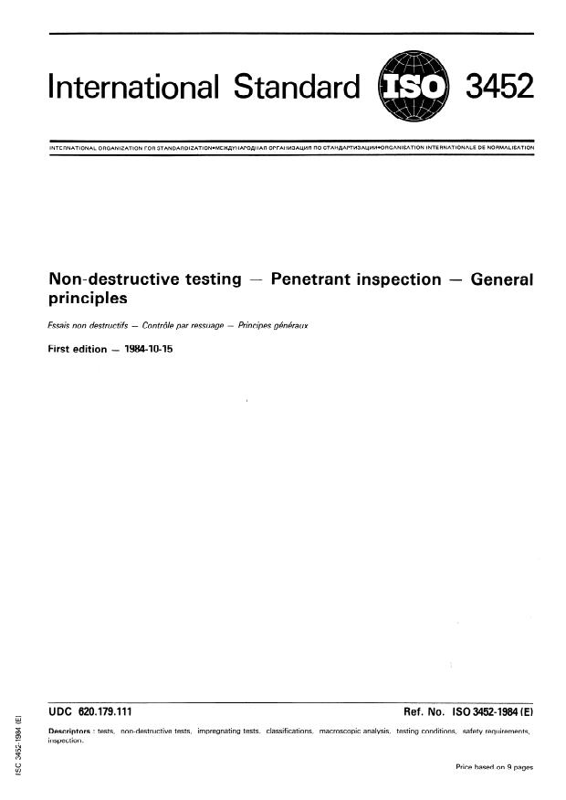 ISO 3452:1984 - Non-destructive testing -- Penetrant inspection -- General principles