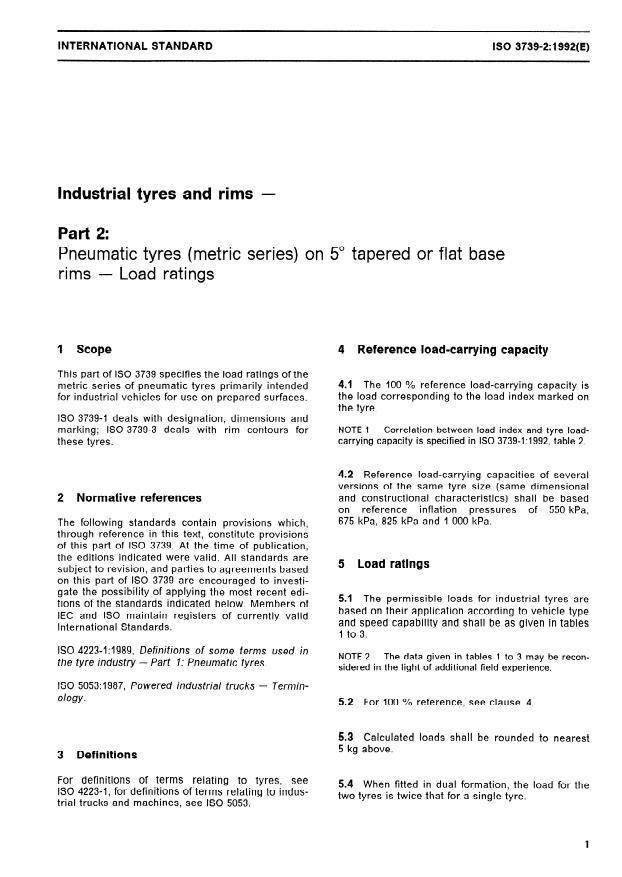 ISO 3739-2:1992 - Industrial tyres and rims