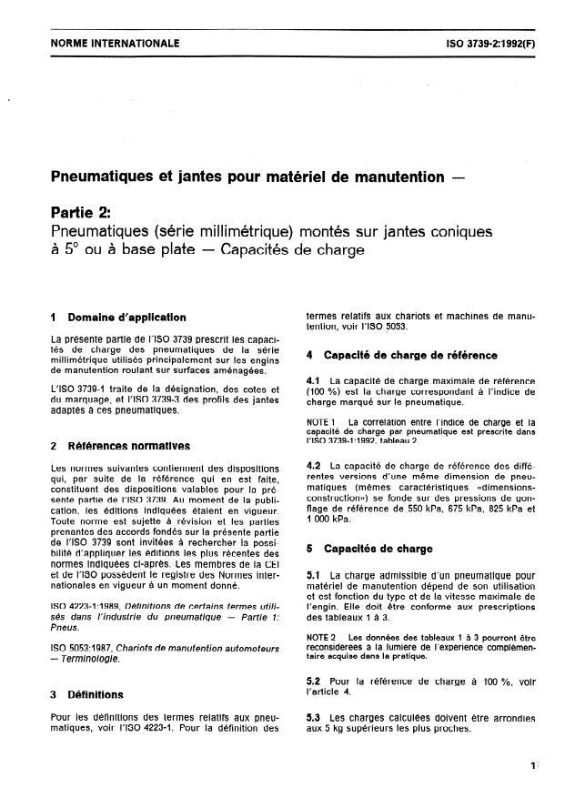 ISO 3739-2:1992 - Pneumatiques et jantes pour matériel de manutention