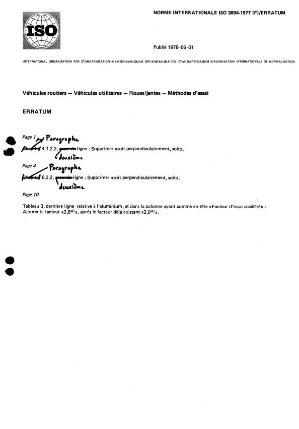 ISO 3894:1977 - Véhicules routiers -- Véhicules utilitaires -- Roues/jantes -- Méthodes d'essai