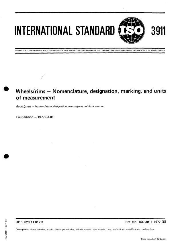 ISO 3911:1977 - Wheels/rims -- Nomenclature, designation, marking, and units of measurement