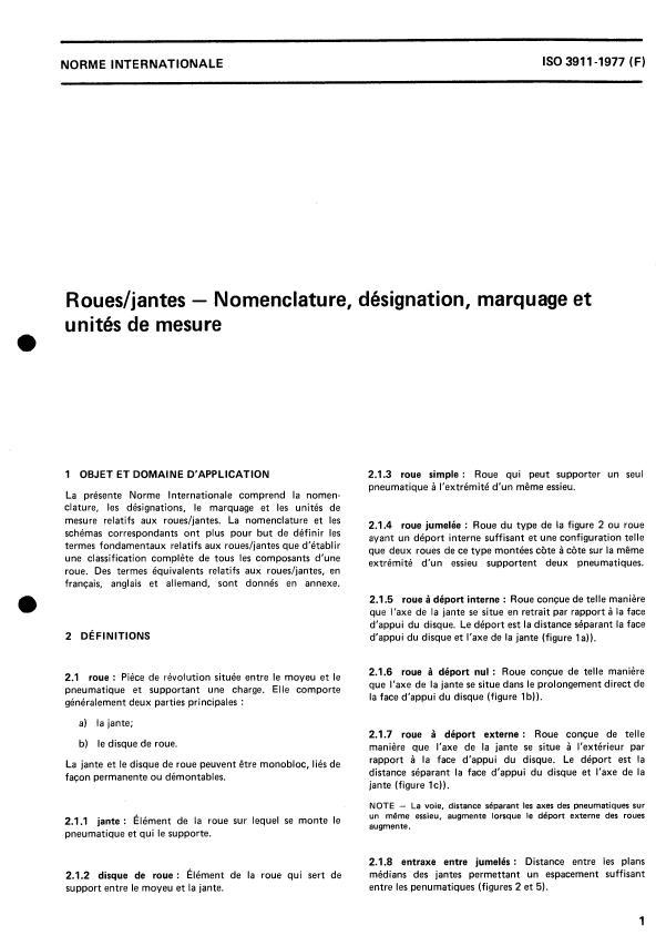 ISO 3911:1977 - Roues/jantes -- Nomenclature, désignation, marquage et unités de mesure