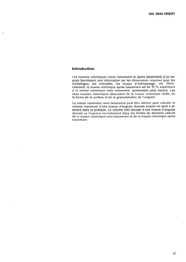 ISO 3944:1992 - Engrais -- Détermination de la masse volumique sans tassement