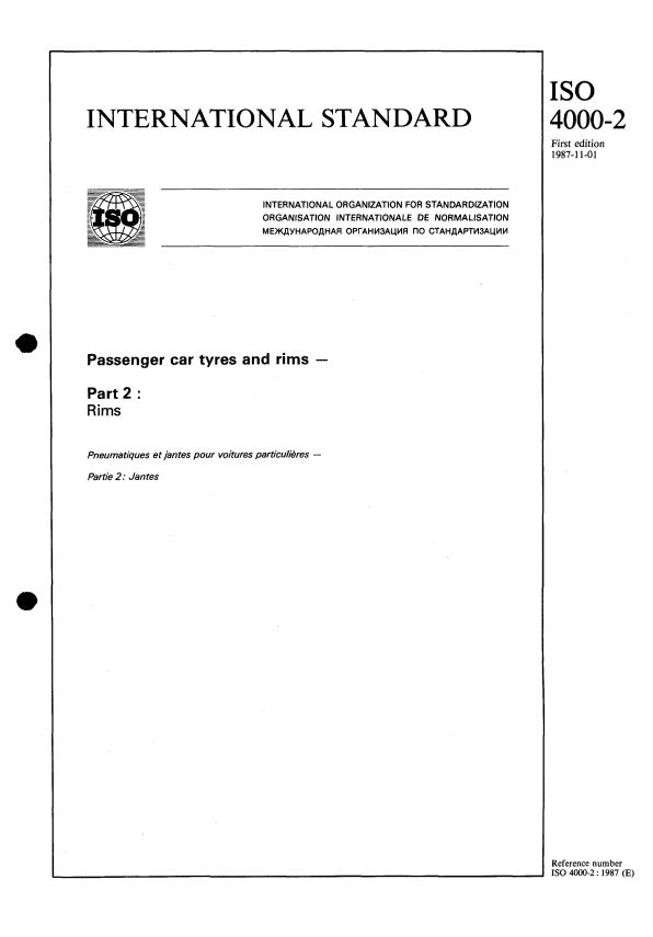 ISO 4000-2:1987 - Passenger car tyres and rims