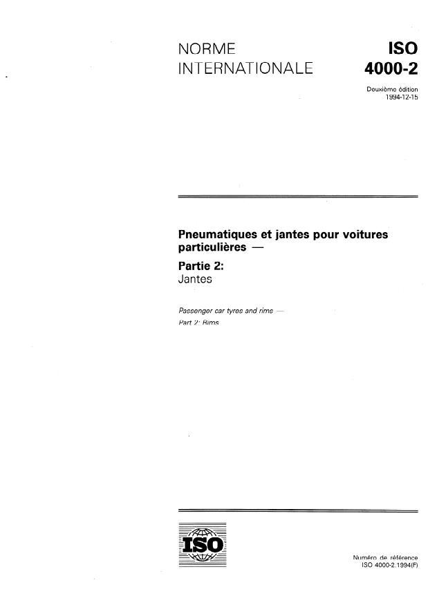 ISO 4000-2:1994 - Pneumatiques et jantes pour voitures particulieres