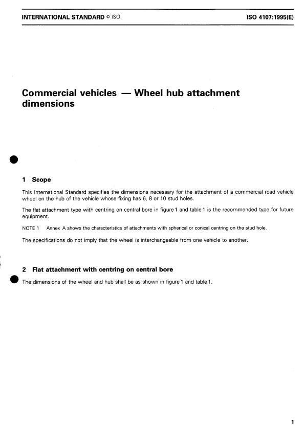 ISO 4107:1995 - Commercial vehicles -- Wheel hub attachment dimensions